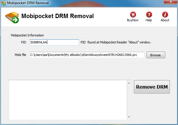 How to remove drm from Mobipocket book?