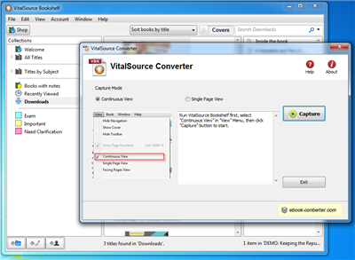 After Setup Bookshelf Window Run VitalSource Converter Click Capture Button To Start Conversion It Will Go Through All Pages And Create A New PDF File